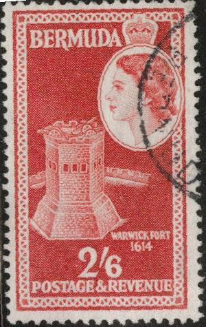 BERMUDA Scott 159  Used 2sh6p scarlet from 1953-58 set