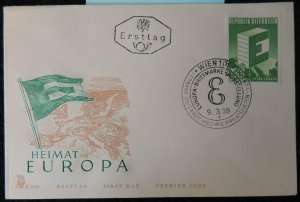 Austria 1959 FDC europa flags maps posthorn vienna pm good used