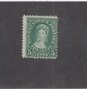NEW BRUNSWICK (MK3937) # 8 F-MNG  5cts  1860 QUEEN VICTORIA /CENTS ISSUE /GREEN