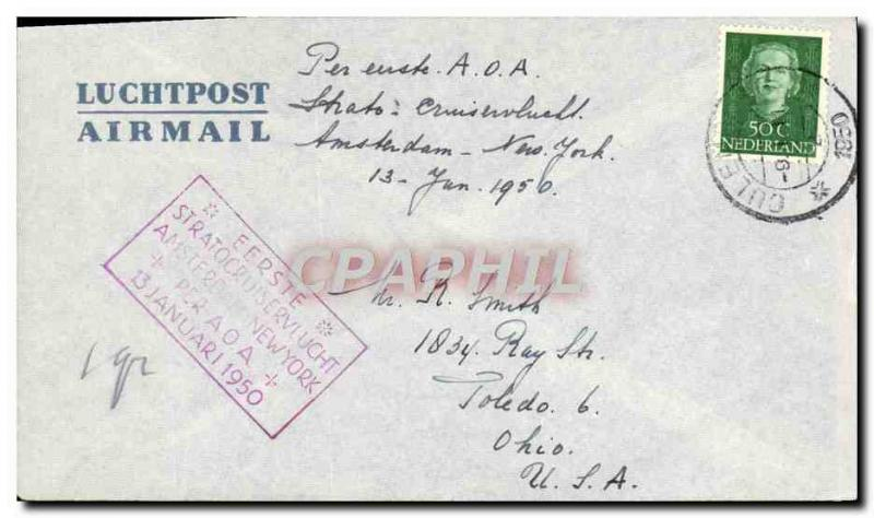 Low Paus letter 1st Flight Amsterdam New York 13 1 1950