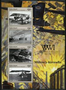 Union Island Gren St Vincent 2014 MNH WWI WW1 Military Aircrafts 4v M/S Stamps