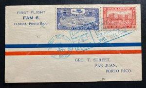 1929 Santo Domingo Dominican Rep First Flight Cover FFC To San Juan Puerto Rico