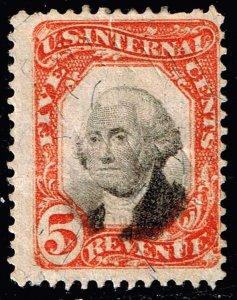 US STAMP BOB #R137 5c 1871 Revenue Stamp VIGNETTE DOWN ERROR