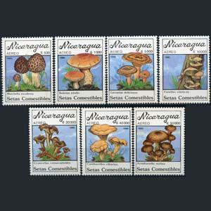 NICARAGUA 1990 - Scott# C1196-202 Mushrooms Set of 7 NH