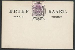 ORANGE FREE STATE 2d on postcard opted 1½d and Arms, unused................57023