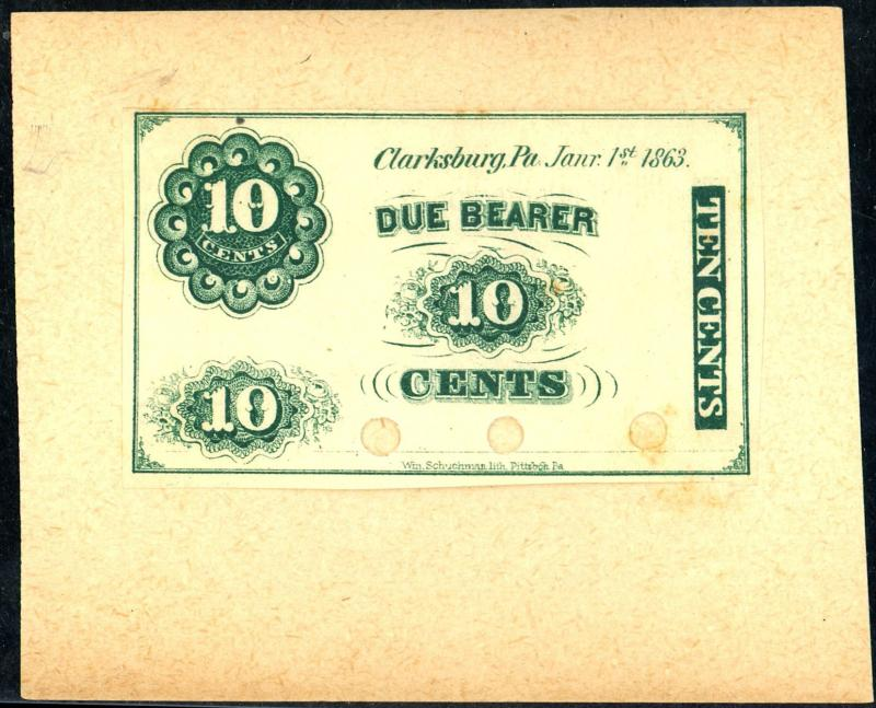 10c Script Note India Proof Mounted on Card VF