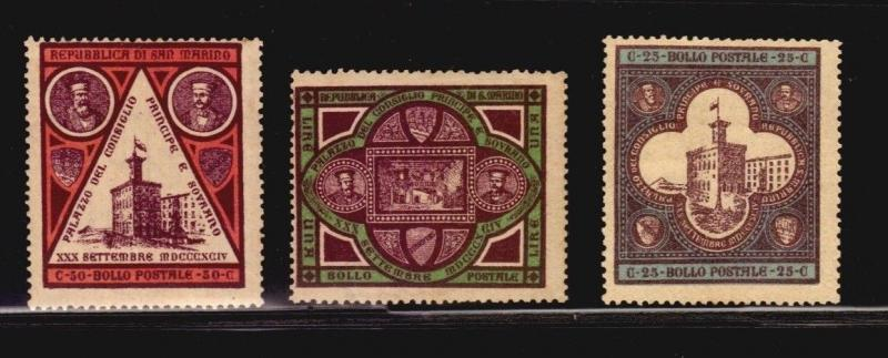 1894 SAVOY COAT OF ARMS SAN MARINO SASS #23-25 MH CV $65