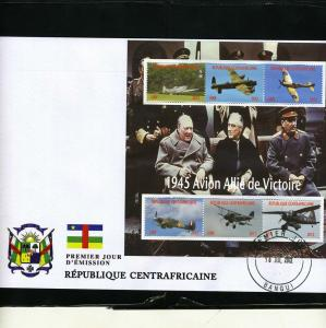 Central African Republic 2012 Churchill-Roosevelt-Stalin-WW2 Perforated in FDC