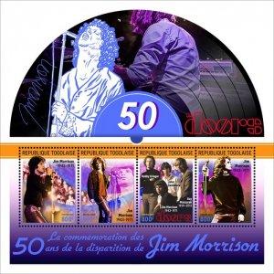 TOGO - 2021 - Jim Morrison - Perf 4v Sheet - Mint Never Hinged