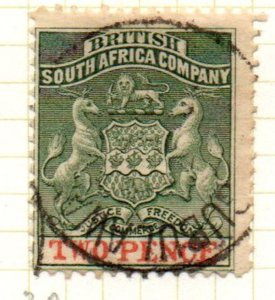 Rhodesia Sc 3 1891 2d green & vermilion Coat of Arms stamp used