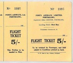 GB WALES AVIATION *Pines Airways Ltd* 5s Flight Ticket Porthcawl Newton 1934 BS4