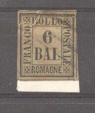 Italy Romagna 1859 Definitives, Drawing numbers, 6 BAJ, Mi.7, repaired in the...