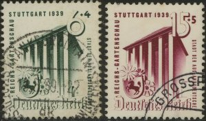 Stamp Germany Mi 692-3 Sc B138-9 1939 WWII War Horticulture Stuttgart Expo Used