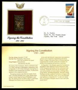 United States 1987 PCS FDC w/ 22 kt gold replica Scott# 2360