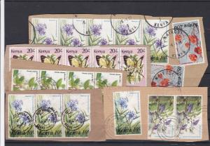 Stamps of Kenya on Paper - Flowers + Butterflies Ref 32568