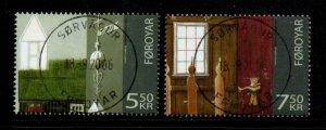 Faroe Islands Sc 478-79 2006 Sandur Church stamp set used