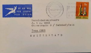O) 1971 SOUTH AFRICA, INDUSTRY, AIRMAIL LUGPOS, TO SWITZERLAND, XF