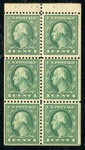 (1917-19) #498e 1¢ Washington unused NH booklet pane ⭐⭐⭐⭐⭐⭐