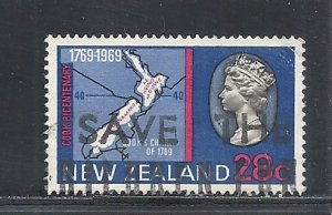 New Zealand #434 used cv $3.50 Map