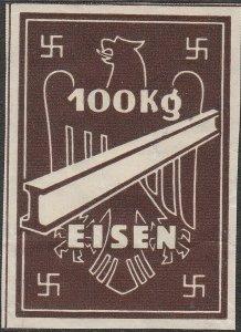 Stamp Germany Ostland Revenue WW2 3rd Reich War Era Eisen Steel 100KG MNG