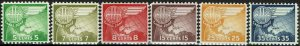 CANAL ZONE #C27-31 1958 5c TO 35c GLOBE AND WING AIR MAIL ISSUES-MINT-OG/VLH