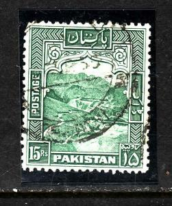 Pakistan-Sc#42b-used-perf 12-15c blue green-Khyber pass-1957