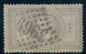 FRANCE #37, 5fr gray, used w/3969 cancel, minute scuff rev, Scott $750.00