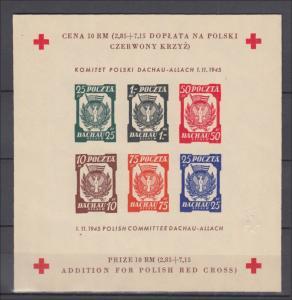 1945 Polish Committee Concentration Camp Dachau-Allach Souvenir sheet,MNH,luxe.