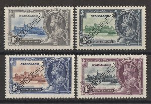 NYASALAND 1935 KGV Silver Jubilee set 1d to 1/-, perf SPECIMEN. MNH **.