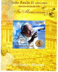 SAO TOME & PRINCIPE 2005 SPACE Pope John Paul II DeLuxe s/s Mint (NH) #1