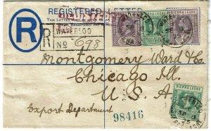 Sierra Leone 1925 Waterloo cancel on registry envelope to the U.S.