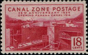 CANAL ZONE #132 1939 18c PEDRO MIGUEL LOCKS-BEFORE ISSUE--MINT-OG/NH-GUM SKIPS