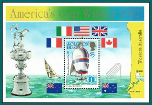 Solomon Islands 1987 Americas Cup Yachting, MS MNH #575,SGMS575