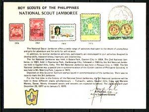 Philippines, Scott cat. 1341. National Jamboree cancel on a Souvenir Card. ^