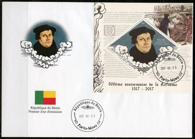 BENIN   2017  500th ANN OF THE PROTESTANT REFORAMATION  SOUVENIR SHEET FDC