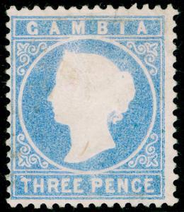 GAMBIA SG14cB, 3d pale dull ultramarine, UNUSED. Cat £65. WMK CC