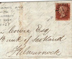 GB SCOTLAND *Ayr* MX Cover MALTESE CROSS 1d Red Kilmarnock 1842 EA8