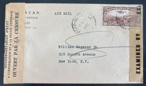 1942 Port Au Prince Haiti Airmail Censored Cover To New York Usa