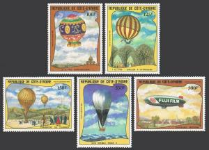Ivory Coast C71-C75,MNH.Michel 772-776. Manned Flight,200,1983.Various balloons.