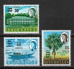 Seychelles 1968 Surcharged, Queen Elizabeth-II Scott # 241-243, VF MNH** (R-4)