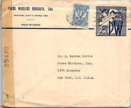 Uruguay, Worldwide Postal Stationary, Censored