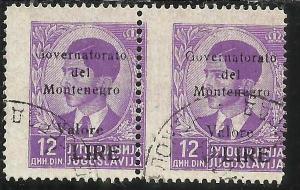 MONTENEGRO 1942 SOPRASTAMPA NERA BLACK OVERPRINTED VALORE LIRE 12 D COPPIA US...