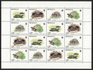 Monaco WWF Hermann's Tortoise Sheetlet of 4 sets SG#2048-2051 MI#2046-2049