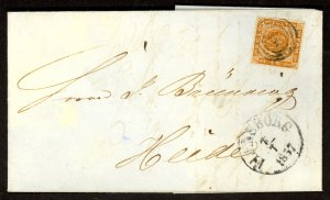 DENMARK 1857 4s Yellow Brown Sc 4a ARMS 4 MARGINS on FLENSBORG Cover