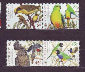 J23763 JLstamps 1998 australia pairs set mnh #1676a-78a WWF birds