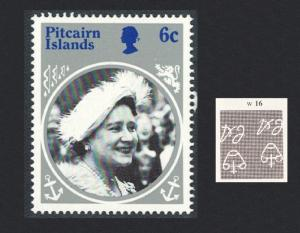Pitcairn Queen Mother 1v 6c Inverted Watermark SG#268-271 SC#253-256