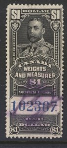 CANADA REVENUE FWM67 1930 $1.00 FEDERAL WEIGHTS & MEASURES USED