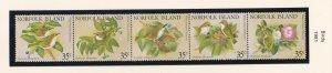 Norfolk Island # 287, Birds, Strip of Five, NH, 1/2 Cat.