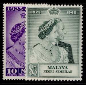 MALAYSIA - Negri Sembilan GVI SG40-41, ROYAL SILVER WEDDING set NH MINT. Cat £23