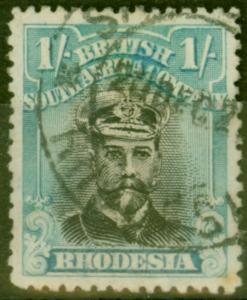 Rhodesia 1922 1s Black & Dull Blue SG300 Good Used